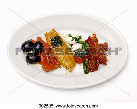 Stock Image of Antipasti platter with vegetables, olives and.