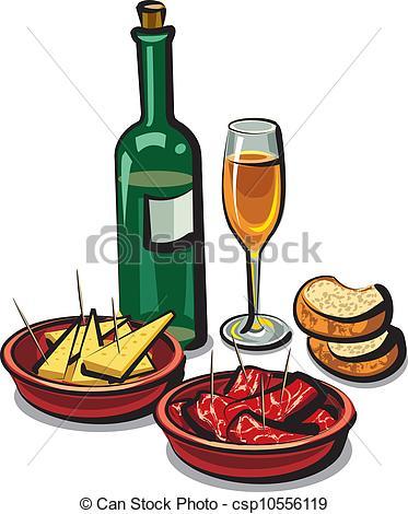Clipart vettoriali di spagnolo, Antipasti, vino.