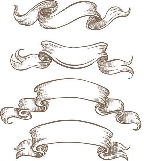 Hand drawn vintage ribbon benner vector 06.