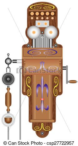 Clipart Vector of Antiquarian phone. Vintage wood telephone on a.