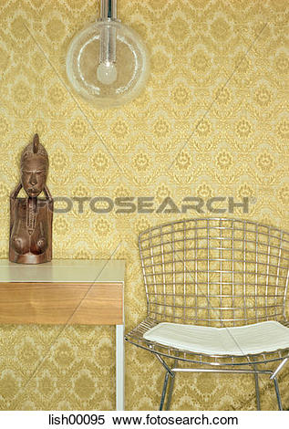Stock Image of wallpaper, Design, silver, bust, wooden figure.