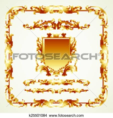 Clipart of Antiquated ornate patterns. Vector k25501084.