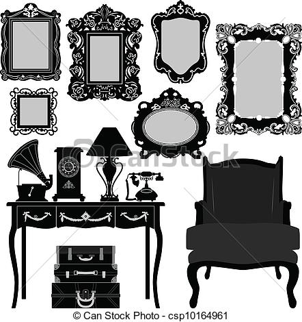 Clip Art Vector of Antique Picture Frame.