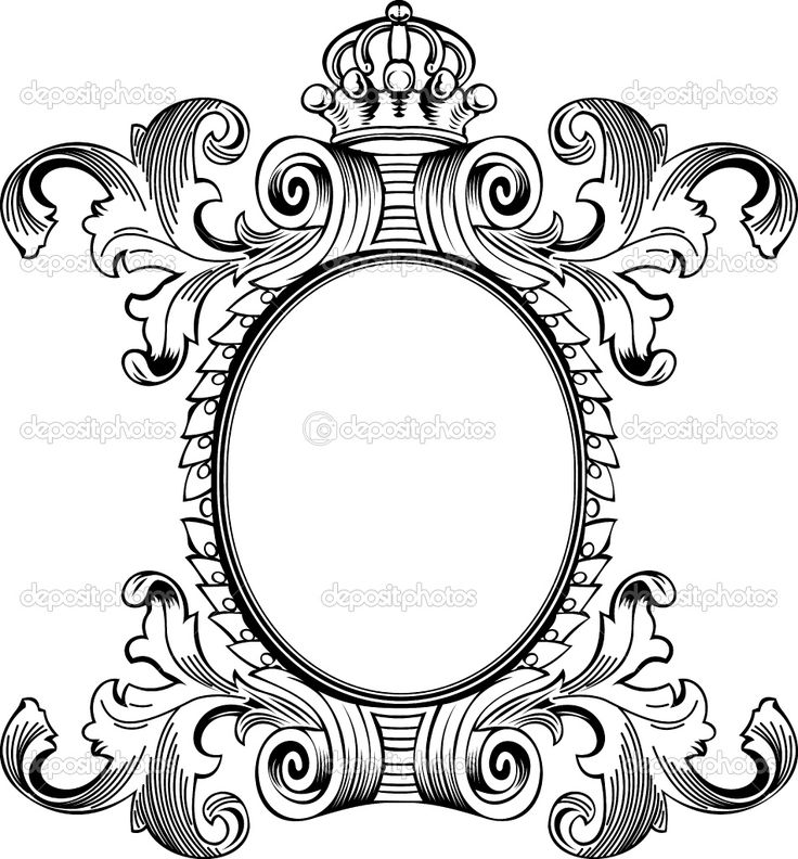Ornate Scroll Border Clip Art.