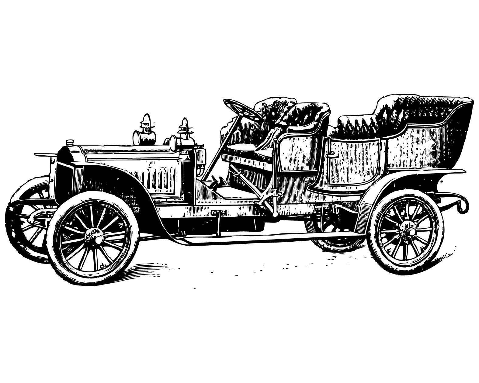 Vintage clip art of cars, coaches and horseless carriages.