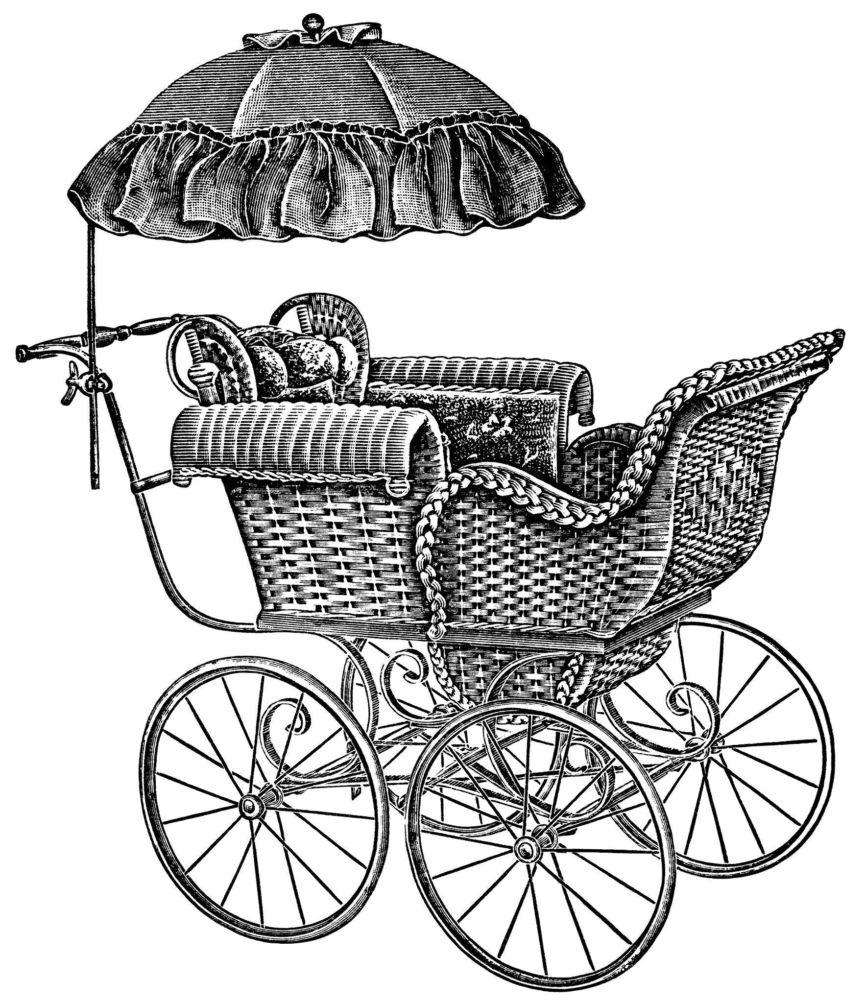 Baby Carriage Pram 2 ~ Free Vintage Clip Art.