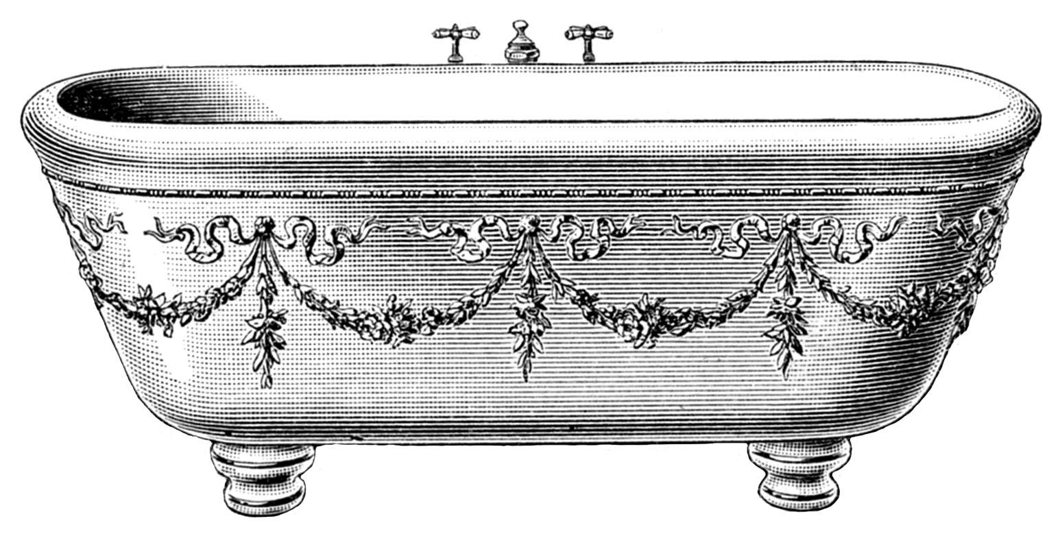 Old Fashioned Bathtub Clipart.