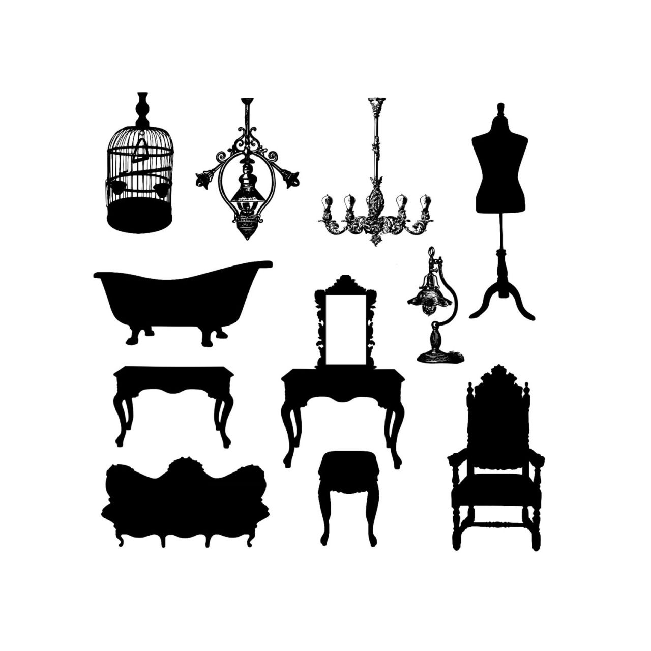 Instant Download, Antique Vintage Furniture Silhouette.