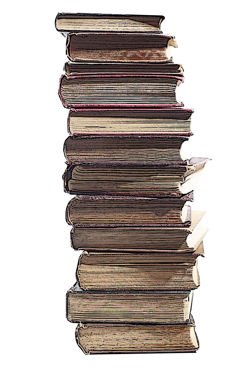 Stack of books art.