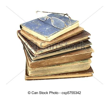 Stock Photo of A set of antique books and old reading glasses.