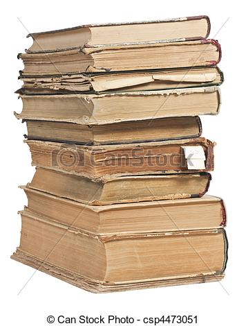 Stock Photography of Old books in a stack on white background.