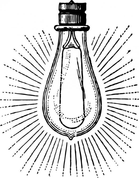 Light bulb clip art retro, Light bulb clip art retro.
