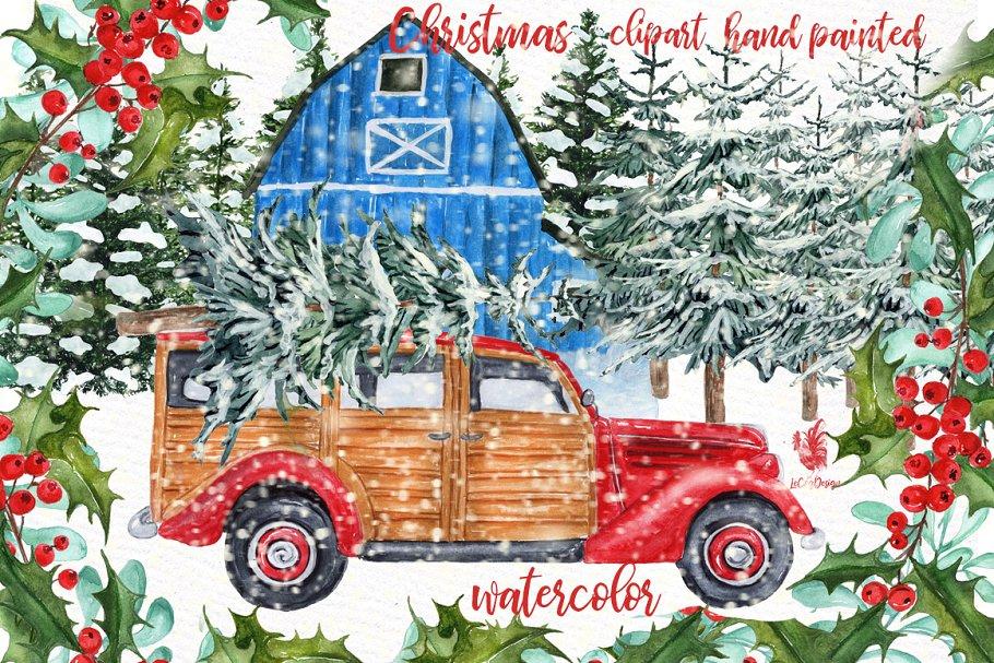 Watercolor Christmas Vintage Car ~ Illustrations ~ Creative.