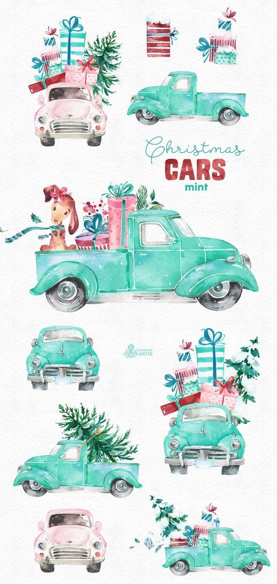 Christmas Cars Mint. Watercolor holiday clipart vintage.