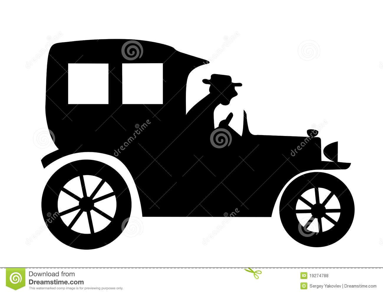 Vintage Car Silhouette Clip Art.