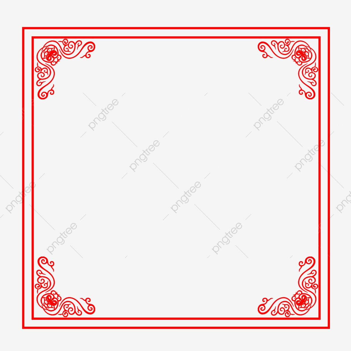 Chinese Style Antiquity Red Pattern Vintage Border, New.