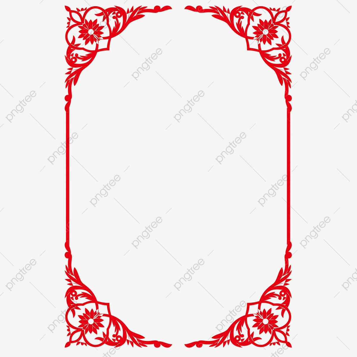 Border Chinese Style Red Vintage Pattern, Frame, Chinese.