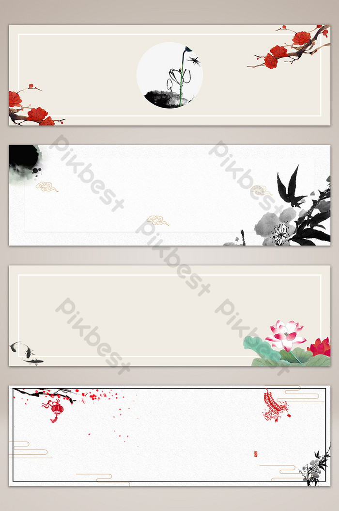 Chinese style antique ink banner background.