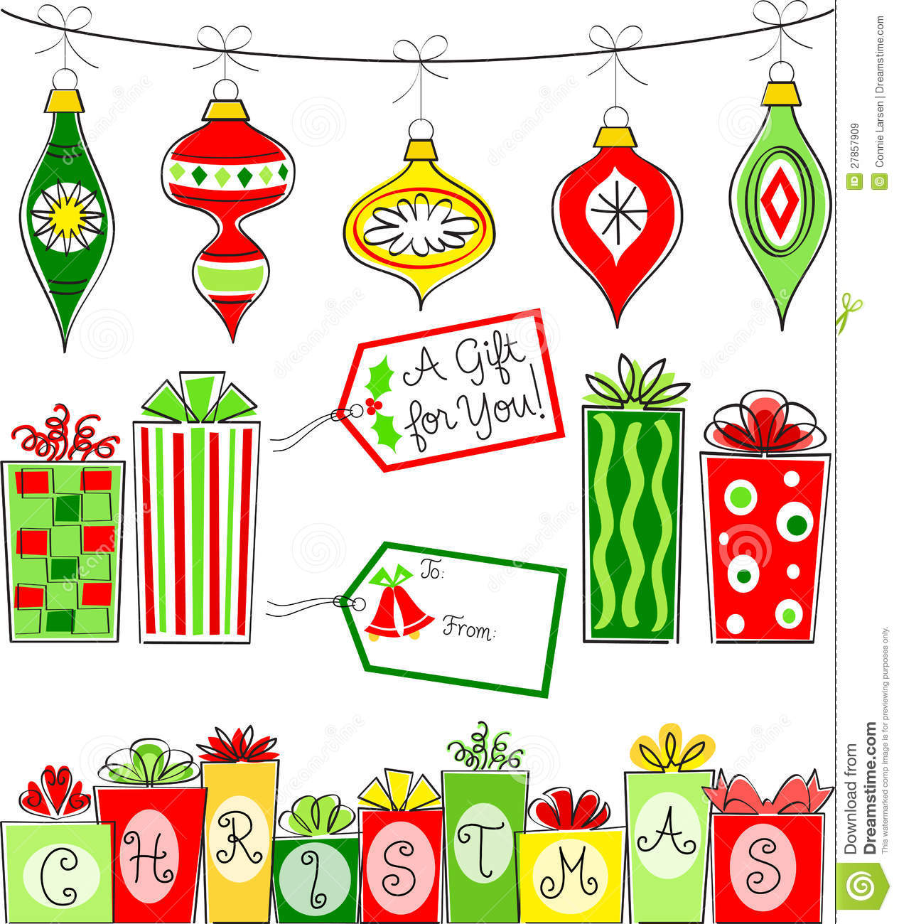 Retro Christmas Clipart.