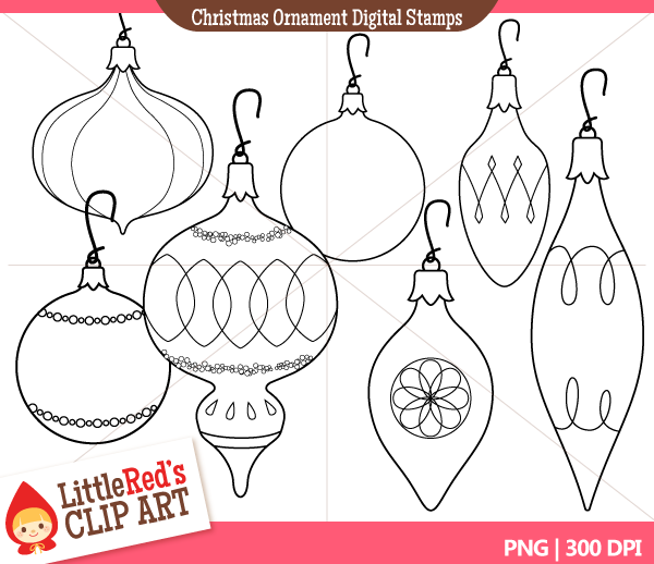 Antique Christmas Ornaments Clip Art.