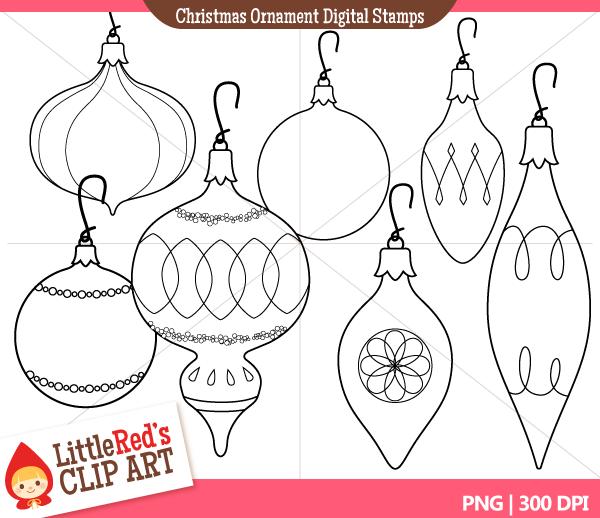 Antique Christmas Ornaments Clip Art
