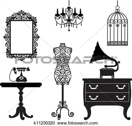 Clipart of Antique Furniture Hundred Vector k4989712.