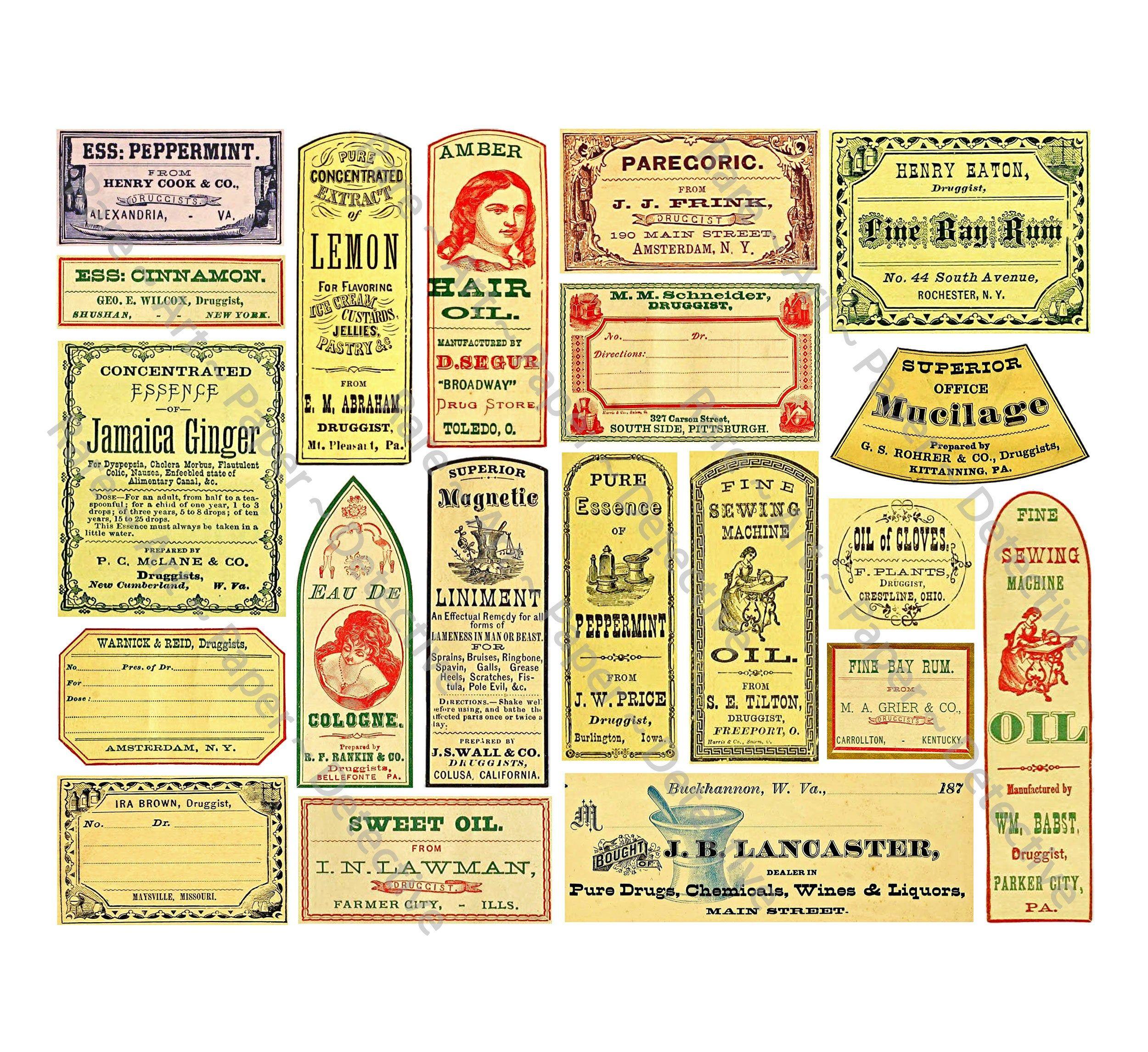 General Store Labels, Antique Apothecary, Clip Art Paper.