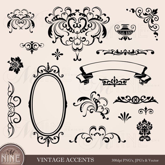 VINTAGE ACCENTS Clip Art: Accent Clipart Design Elements.