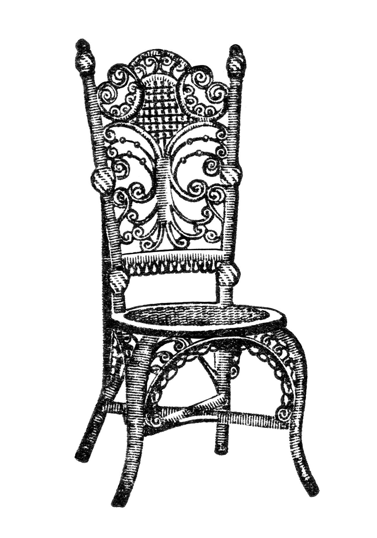 vintage chair clipart, old fashioned parlor chair, antique.
