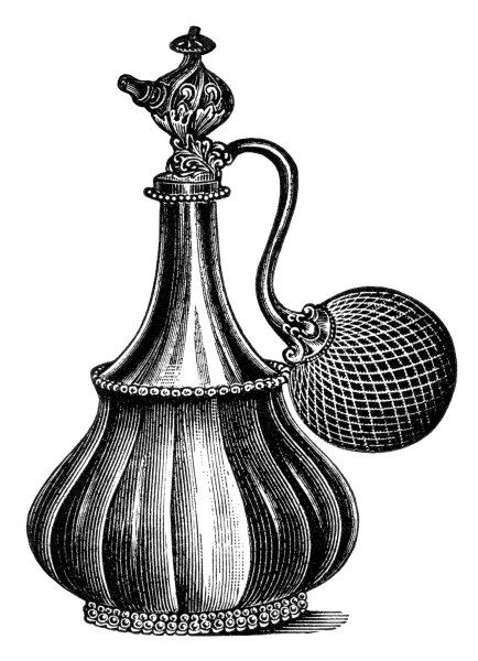 vintage atomizer clip art, black and white clipart, old.