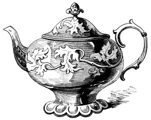 Victorian tea pot illustration, vintage teapot clipart.