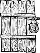 Clip Art of Old wooden door k11245837.
