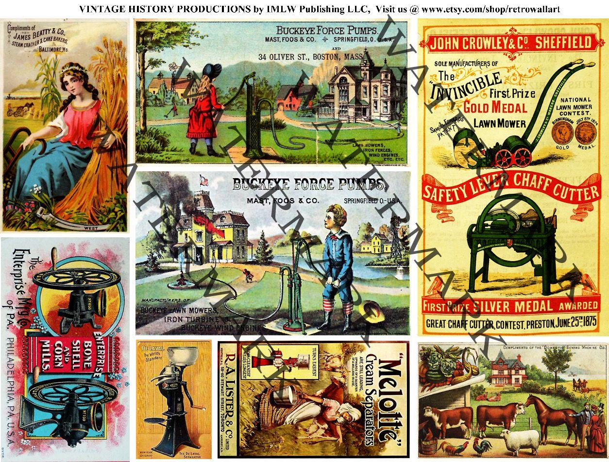 Farm Clip Art, Antique Farm Equipment, Trade Cards, Old.