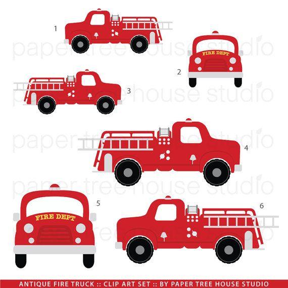 Fire Truck Clip Art. Fire Station Clip Art. Vintage Fire.
