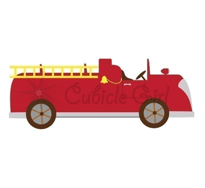 Vintage fire truck clip art.