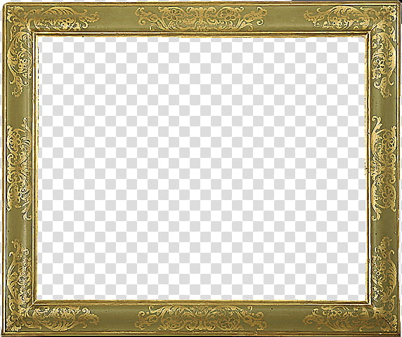 Antique Frames s, square gold frame transparent background.
