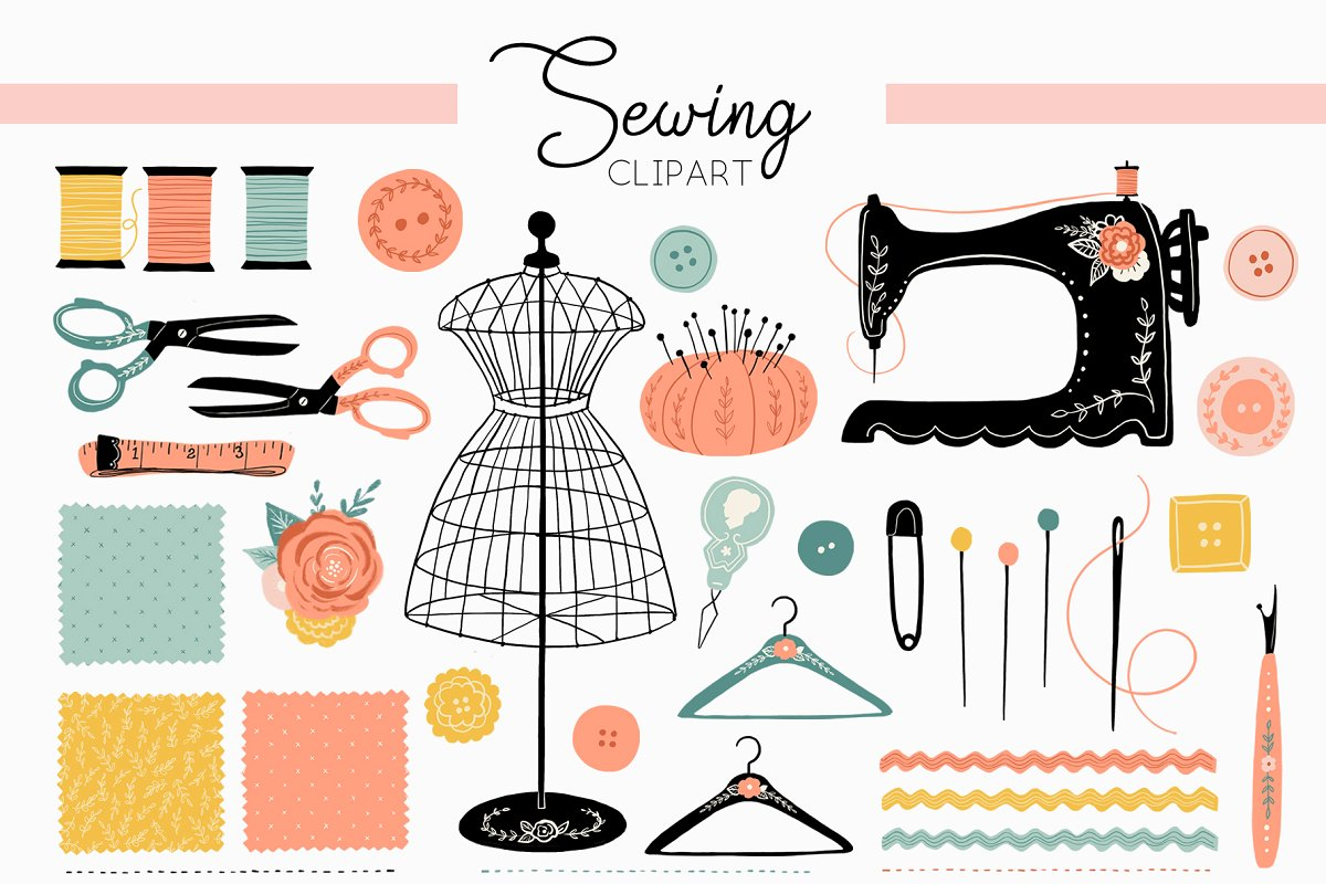 Vintage Antique Sewing Clipart.