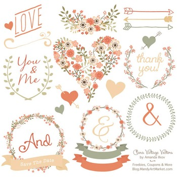 Clara Vintage Floral Wedding Heart Clipart in Antique Peach.