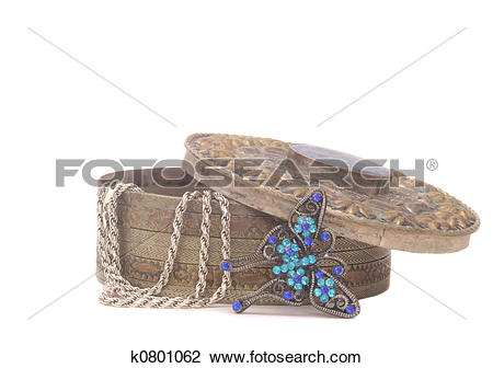 Stock Photo of Antique Jewelry Box k0801062.