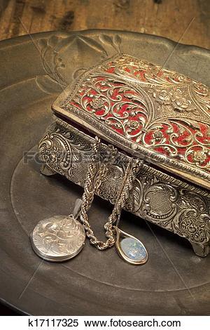 Stock Image of antique jewelry box k17117325.
