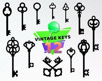 Antique keys clipart.