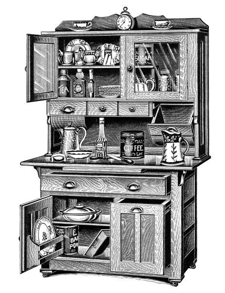 vintage kitchen clipart, old catalogue page, antique kitchen.