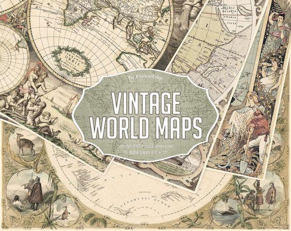 Vintage Maps Digital Paper.