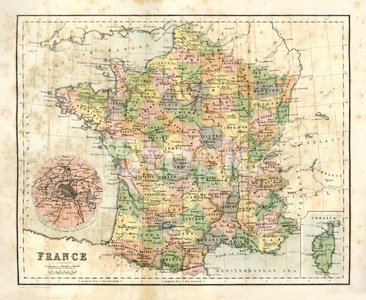 Antique Map of France premium clipart.
