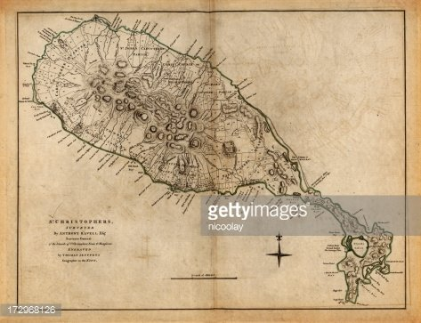 Antique map of St Kitts Island Clipart Image.