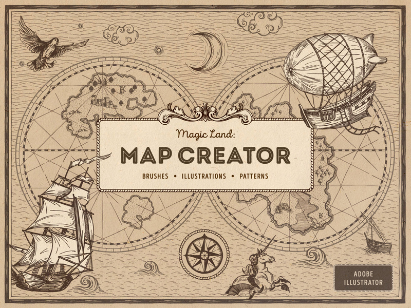 Magic Lands: Vintage Map Creator by Olga Lysenkova for.