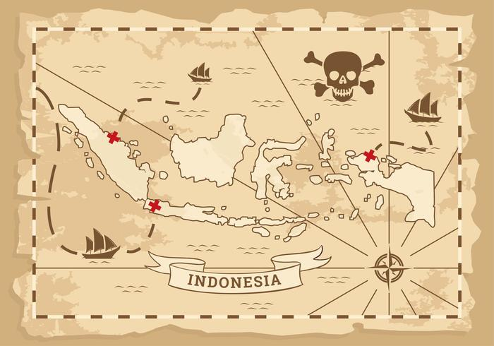 Indonesia Ancient Map Vector.