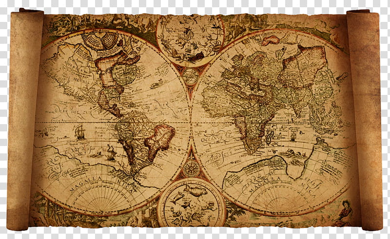 Old world map, brown and beige world map transparent.