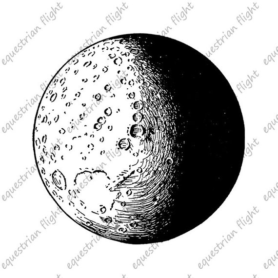 Printable Moon Image Antique Moon Illustration Moon.