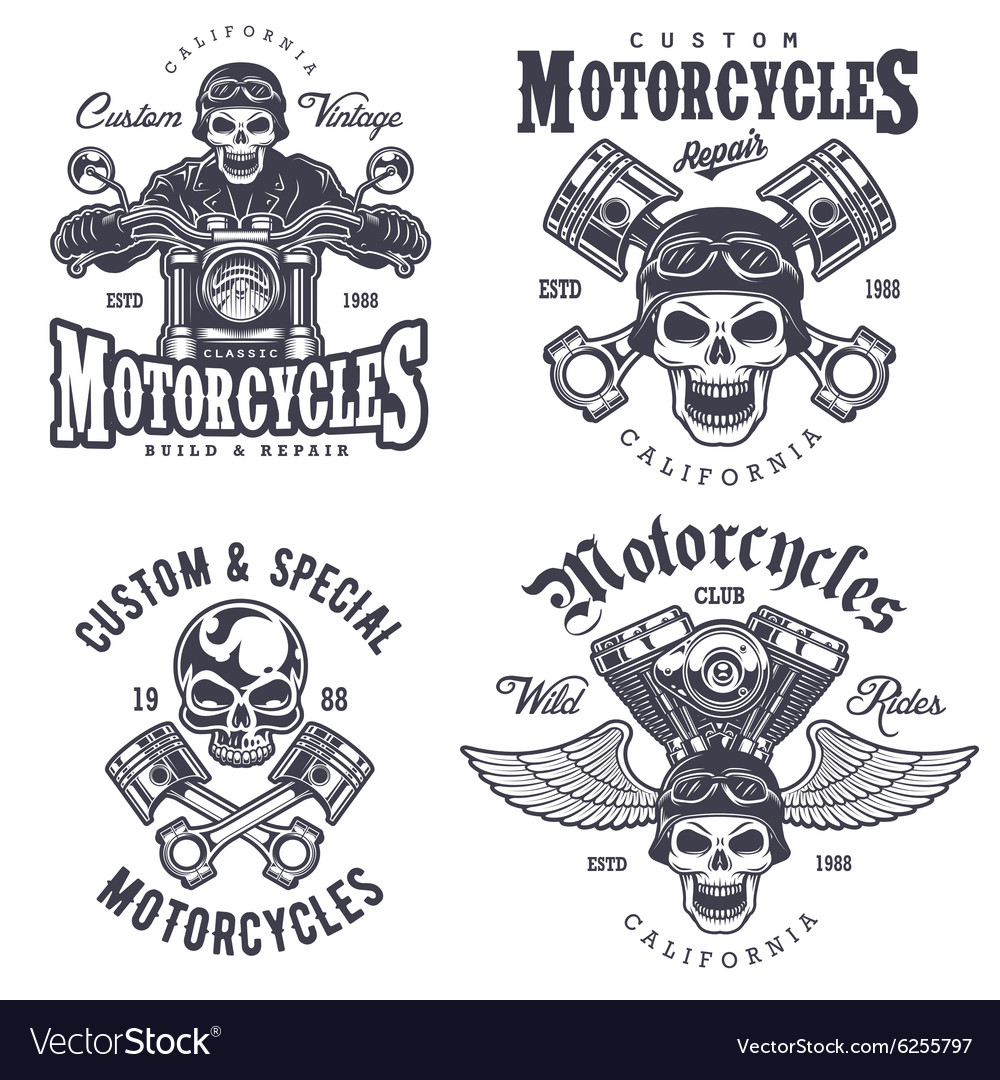 Set of vintage motorcycle emblems.